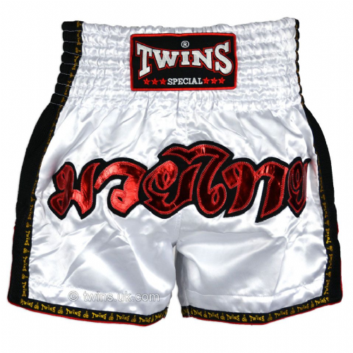 Twins TWS912 White Retro Muay Thai Shorts